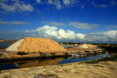 Salt heaps covered terracotta, Trapani royalty free stock photos
