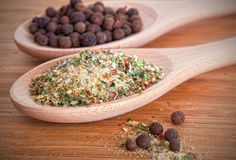 Salt with herbs and allspice Royalty Free Stock Photography