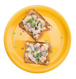 Salt herring sandwiches and green onions,isolated Royalty Free Stock Image