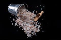 Salt hink och sked Arkivfoton