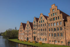 Salt houses along a canal in Lubeck Royalty Free Stock Photos