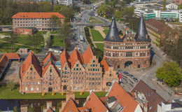 Salt houses and city gat in Lubeck seen from above Royalty Free Stock Photography