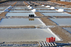 Salt Industry. View of the salines exploration, and several piles of salt Stock Image