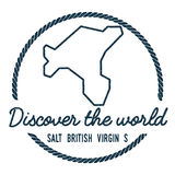 Salt Island, British Virgin Islands Map Outline. Vintage Discover the World Rubber Stamp with Island Map. Hipster Style Nautical Insignia, with Round Rope Stock Images