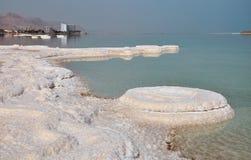 Salt islands in Israel. Wonderful dead sea white coastline Stock Photo