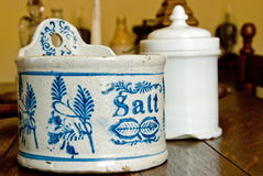 Salt jar in kitchen Royalty Free Stock Photo