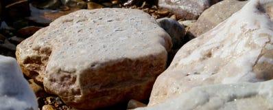 Salt kristallisering på kusten av det döda havet, Jordanien Arkivfoto
