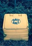 Salt lagringsask för grus Arkivfoto