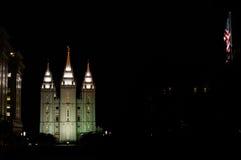 Salt Lake świątynia nocą fotografia royalty free