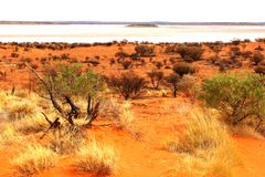 Salt Lake Amadeus dans le désert entre Alice Springs et Ayers basculent, Australie image libre de droits