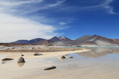 Salt Lake in Atacama desert, Chile Royalty Free Stock Photography