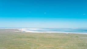 Salt lake Baskunchak. Astrakhan region. Russian landscape. royalty free stock image