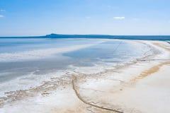 Salt lake Baskunchak. Astrakhan region. Russian landscape. royalty free stock photo