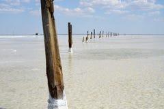 Salt lake, salt, Lake Baskunchak in Russia. stock photography