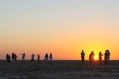 Salt lake Chott El Jerid in Tunisia stock photography