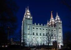 Salt Lake City świątyni kwadrat nocą zdjęcie stock