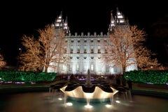 Salt Lake City świątynia z bożonarodzeniowe światła zdjęcia royalty free