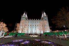 Salt Lake City świątynia z bożonarodzeniowe światła Obrazy Stock