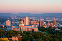 Salt Lake City. Utah at sunset Royalty Free Stock Photo