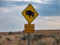 Salt Lake City, Antelope Island buffalo reservation, bison herd, traffic sign. Salt Lake City, Antelope Island buffalo reservation, bison heard royalty free stock photos