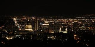 Salt Lake City bij nacht Royalty-vrije Stock Afbeeldingen