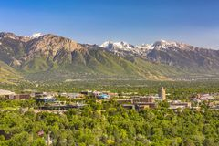 Salt Lake City with buildings and mountains. Salt Lake City Views with buildings and roads royalty free stock photography