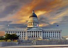 Salt Lake City Capitol, Utah. Salt Lake City capitol building at sunset. Scenic view with visitors. Utah, United States royalty free stock photos