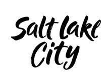 Salt Lake City, conception des textes calligraphie de vecteur Affiche de typographie Utilisable comme fond Lettrage tiré par la m Image stock