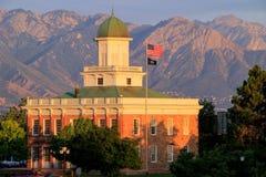 Salt Lake City-counsil Hall mit warmem Abendlicht, Utah Lizenzfreies Stockbild