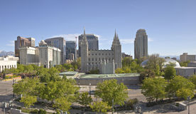Salt Lake city downtown city view panorama. Salt Lake city Utah downtown architecture and landmarks Stock Photography