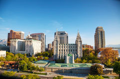 Salt Lake City downtown overview. Salt Lake City panoramic overview in the evening Royalty Free Stock Photo