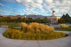 Salt Lake City Downtown, Utah, USA. Salt Lake City downtown, scenic view at sunset. Utah, United States Stock Photo