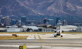 Salt Lake City Downtown. View from the Salt Lake City International Airport Royalty Free Stock Photo