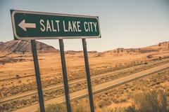 Salt Lake City Drogowy znak Obrazy Royalty Free