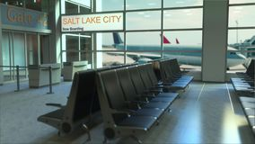 Salt Lake City flight boarding now in the airport terminal. Travelling to the United States conceptual intro animation. Salt Lake City flight boarding now in the stock footage