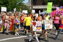 Salt Lake City gay pride parade. Salt Lake City, Utah, USA - June 7, 2015. Members of the group PFLAG march in the Salt Lake City, Utah Gay Pride Parade Royalty Free Stock Photography