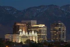 Salt Lake City horisont på natten Fotografering för Bildbyråer