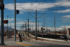Salt Lake City: Light Rail Train Tracks Royalty Free Stock Photography