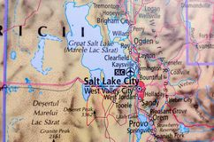 Salt Lake City on map. Close up shot of Salt Lake City on map Stock Images