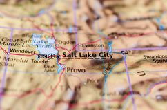 Salt Lake City on map. Close up shot of Salt Lake City. is the capital and the most populous municipality of the U.S. state of Utah Stock Photo