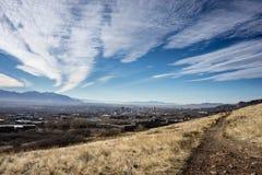 Salt Lake City med himmel och banan Fotografering för Bildbyråer