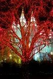 Salt Lake City Mormon Temple Christmas Lights. December Utah royalty free stock photo