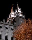 Salt Lake City Mormon Temple Christmas Lights Royalty Free Stock Images