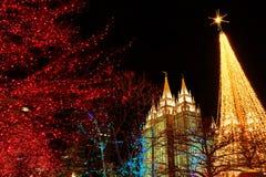 Salt Lake City Mormon Temple Christmas Lights. December Utah stock photo