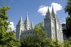 Salt Lake City Mormon Temple. The Salt Lake Temple is located in Salt Lake City Utah and took ~40 years to build (from 1853 to 1893) and remains one of the most Stock Images