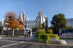 Salt Lake City Mormon Temple, Utah. The Church of Jesus Christ of Latter-day Saints located on Temple Square in Salt Lake City, Utah, United States royalty free stock image