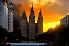 Salt Lake City, Mormons Temple, Utah, USA. Mormons Temple in Salt Lake City at sunset, street view. Spectacular scenic view.  Utah, United States Royalty Free Stock Images