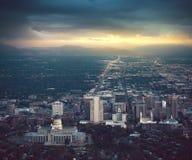 Salt Lake City no por do sol fotografia de stock royalty free