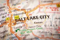 Salt Lake City op een Wegenkaart Stock Afbeeldingen