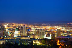Salt Lake City overview. In the night Royalty Free Stock Photography